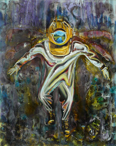 Lyube Petrov, Last diver, oil, varnish on canvas, 200x160cm,2014